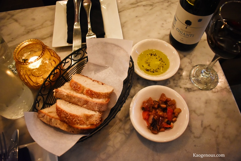 bread basket and olive oil pasta dal cuore jersey city