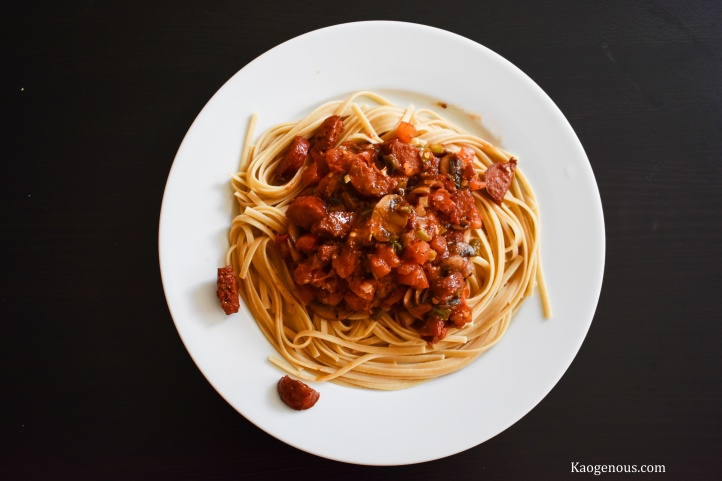 pasta tomato sausage sauce spicy sweet plate